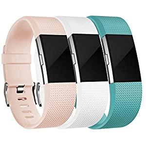 Replacement Bands for Fitbit Charge 2 (3 Pack), Blush Pink, White and Teal, Small