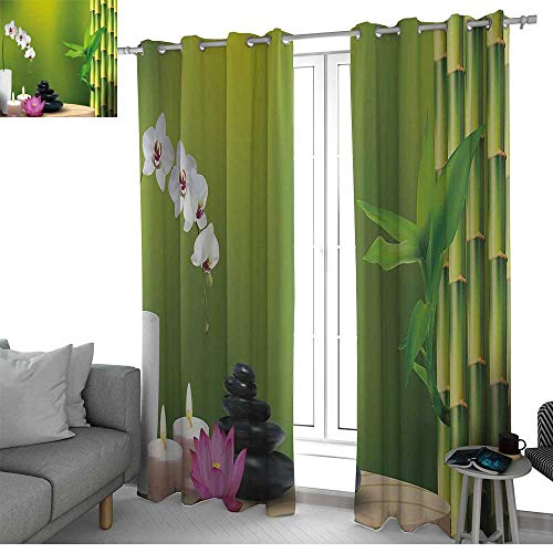 NUOMANAN Kitchen Curtains Spa Decor,Bamboo Flower Stone Wax on The Table Orchid Rock Healthy Lifestyle,Rod Pocket Drapes Thermal Insulated Panels Home décor 54
