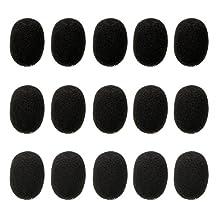 Kesoto 15 PCS Mini Size Headset Microphone Windscreens Foam Microphone Covers - Black