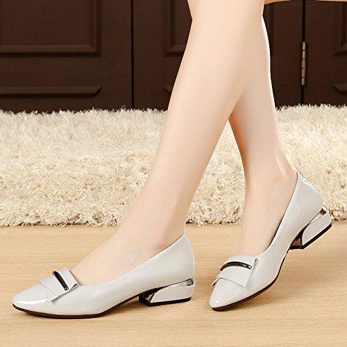 De Una Salvaje Con KPHY Nueva Solo Con La Mujer Cuero Primavera Pequeña Zapatos Zapatos Gray De Luz Otoño Y Zapatos Y Negrita nqfFvfxZ