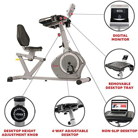 Sunny Health Fitness Magnetic Recumbent Desk Exercise Bike