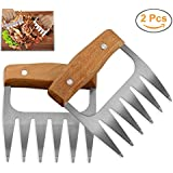 SELEMAK Metal Pulled Pork Shredder Meat Claws, 2 Pcs Stainless Steel Bear Barbecue Meat Handling Shredding Claws BBQ Meat Handler Forks with Wooden Handle for Shredding Pulling Handing Lifting Meat