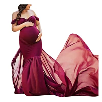 Jeash Maternity Off Shoulder Chiffon Gown Maxi Photography Dress for Photo Shoot Photo Props Dress for Baby Shower/Photography: Arts, Crafts & Sewing
