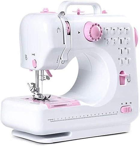 Pequeña máquina de coser, máquina de coser eléctrica de escritorio multifunción, para tela de principiante, herramienta de costura de tela para niños 28 × 12 × 27 cm-Rosa: Amazon.es: Hogar