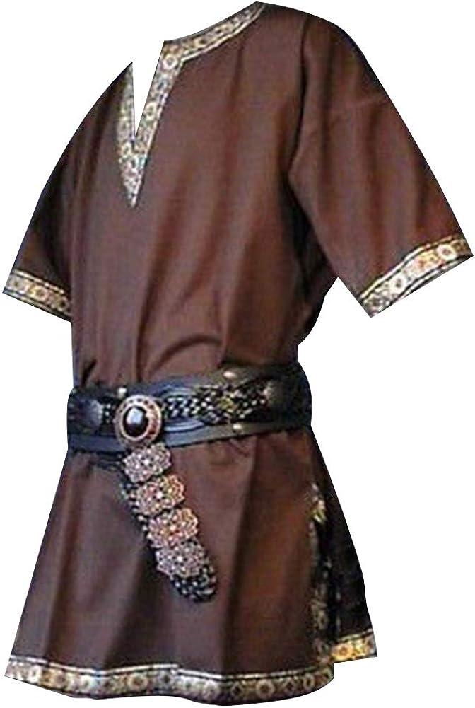 Hombres Manga Corta Renaissance Medieval De Los Camisa Casual con Cuello En V Disfraz