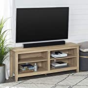 "WE Furniture Minimal Farmhouse Wood Universal Stand for TV's up to 64"" Flat Screen Living Room Storage Shelves Entertainment Center, 58 Inch, Natural"