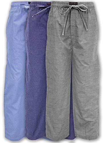 Andrew Scott Men's 3 Pack Super Soft Woven Pajama & Sleep Long Lounge Pants (XXXX-Large, 3 Pack - Assorted Brilliant Plaids)