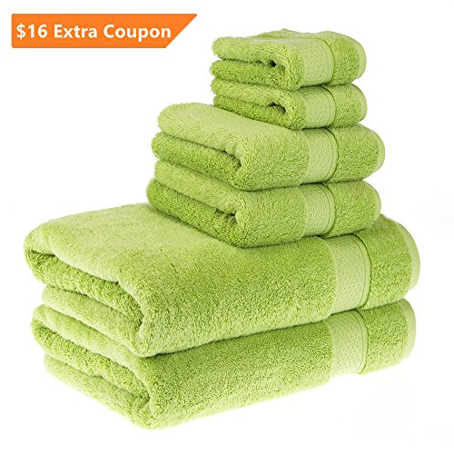 PROMIC Luxury Towel Set, 100% Egyptian Cotton - 2 Extra Large Bath Towels 30x60, 2 Hand Towels, 2 Washcloths - Soft, Plush and Highly Absorbent (Set of 6, Green) (Square Waffle Robe)