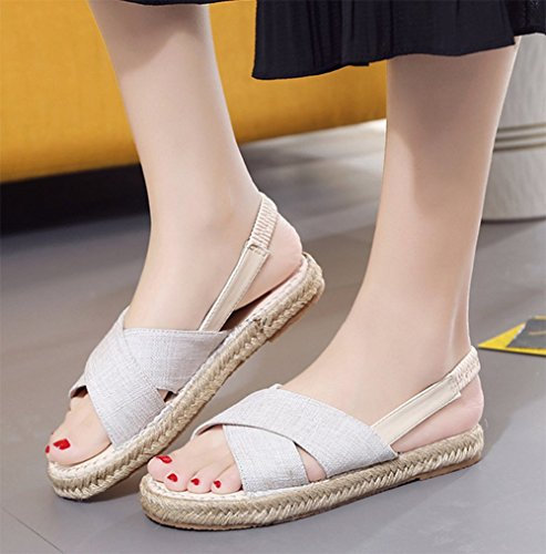 Indossare Piatta Nell'estate Sandali weiwei Pantofole A Protettivi Comfort Lino Sandals Ladies 4qPP0Z