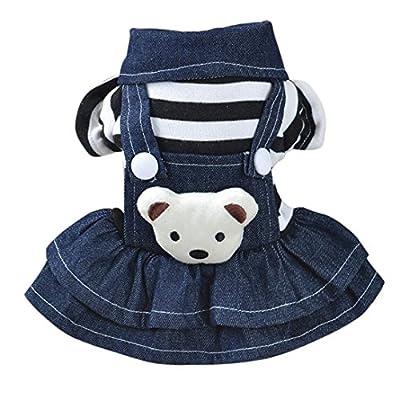 Kimanli Pet Clothes Dog Puppy Cat Striped Dress Strap Denim Skirt/Pants Overalls Apparels