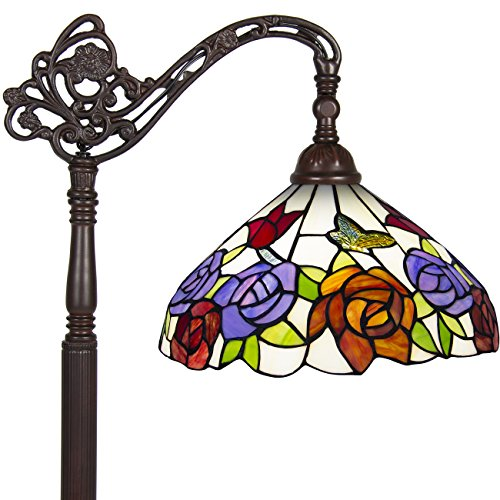 Best Choice Products Tiffany Style Rose Reading Floor Lamp Mission Design Table Desk Lighting Multicolor