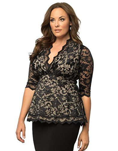 Nude Lace Top (Kiyonna Women's Plus Size Linden Lace Top 2x Black Lace Nude Lining)