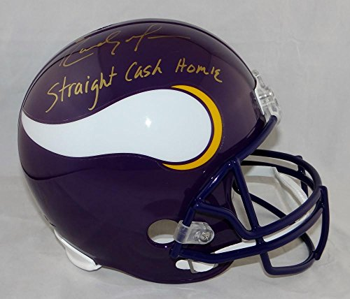 Randy Moss Collectibles (Randy Moss Signed G Vikings F/S 83-01 TB Helmet W/ Straight Cash U- JSA W Auth)