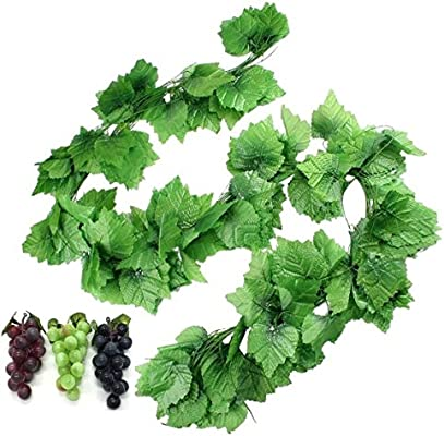 27m 12 Strands Artificial Fake Grape Vines With 3 Strings Grapes Hanging Plant Large Leaves Garland For Wedding Party Store Home Decor Indoor Outdoors Grape And Garlands Artificial Dried Flora Amazon Com Au