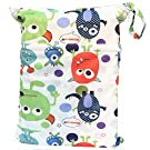 Wet Dry Bag Baby Cloth Diaper Nappy Bag Reusable with Two Zippered Pockets (Monster)