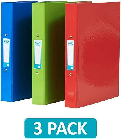 Elba, carpeta de anillas A4, 2 anillas, rojo/verde/azul, 3 carpetas: Amazon.es: Oficina y papelería
