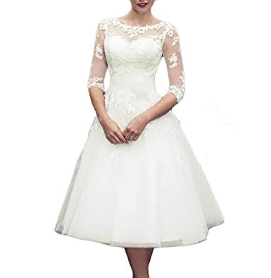 Udresses Vintage Inspired Half Sleeves Vestidos de Novia Tea Length Sheer Lace Wedding Dresses D68