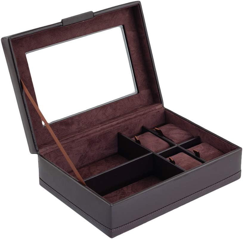 CORDAYS Caja para 4 Relojes y 2 Gafas. Estuche de Accesorios Caballero - Caja Relojes. Hecho a Mano en Piel Sintética Color Marrón CDM-00101: Amazon.es: Joyería
