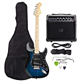 ISIN Full Size Electric Guitar for Music Lover Beginner with Amp and Accessories Pack Guitar Bag (Dark Blue)