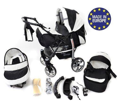 3 in 1 Reisesystem einschließlich Kinderwagen mit schwenkbaren Rädern, Kinderautositz, Buggy und Zubehör, Schwarz und Weiß