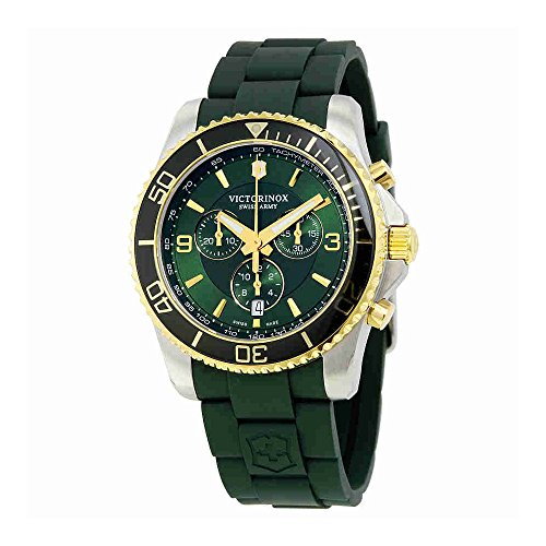 Victorinox Swiss Army Men's Victorinox 241694 Green Silicone Swiss Quartz Watch (Army Swiss Watch Wrist Quartz)