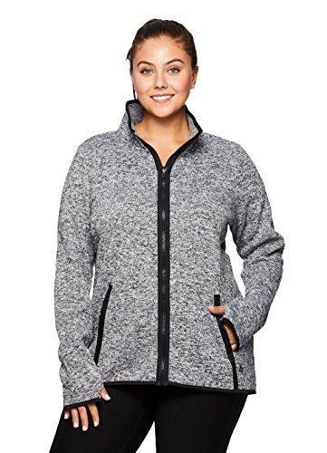 Sport Knit Jacket (RBX Active Plus Fleece Lined Sweater Knit Jacket Grey 2X)