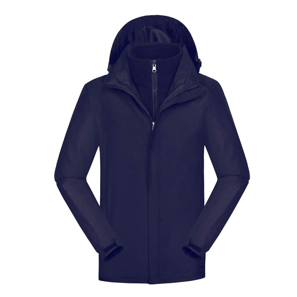 Redacel Men's Outdoor Sports Hooded Windproof Rain Mountain Hiking Warm Coat Outdoor Jackets Removable Hood (Navy,L) by Redacel