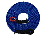 Tow Rope Heavy Duty Polypropylene with Hook and Loop, 12,500 LBS Breaking Strength for Mid Size Pickups and Cars, Made in the USA (15 Feet)
