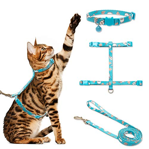 (CHERPET Cat Harness and Leash with Breakaway Collar - Escape Proof Adjustable for Outdoor Walking, Safety Buckle Durable Blue Nylon Cute Personalized Printed Harnesses for Puppy Kittens Small)