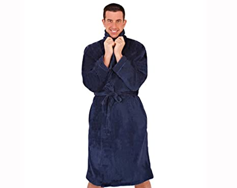 Luxury mens gents full length velour fleece robe dressing gown housecoat  robe (Medium) a1e2f09d8