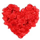 SAVFY 500PCS Silk Rose Petals Artificial Flower Wedding Party Decoration Supplies(Red)