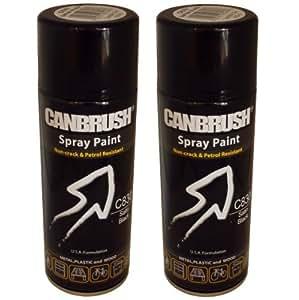 2 X Canbrush Spray Paint For Metal Plastic Wood 400ml Satin Finish Satin Black