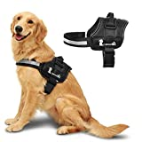 Pecute Large Dog Harness No-Pull Reflective Outdoor Walking Vest Harness Adjustable Strap and Durable Nylon Handle for Walking and Training