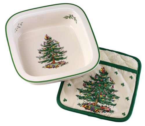 Spode Christmas Tree Square Baker with Potholder