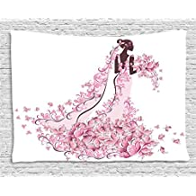 Wedding Decorations Tapestry by Ambesonne, Flowers Hearts Butterflies on Wedding Dress Bridal Gown, Wall Hanging for Bedroom Living Room Dorm, 60 W X 40 L Inches, Light Pink Maroon White