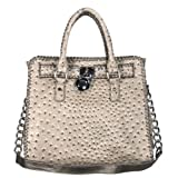 Luxcessories Ostrich Belted Padlock Tote Handbag in Taupe Beige with Shoulder Chain, Bags Central