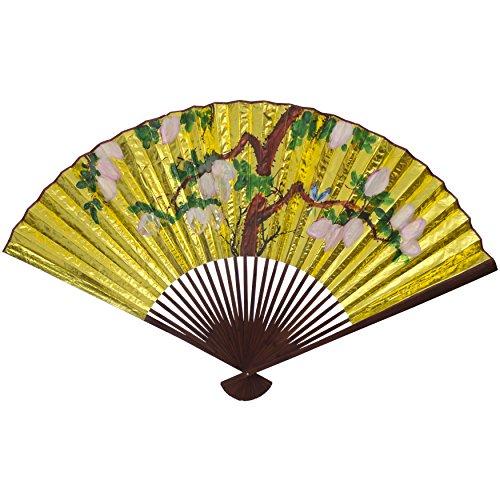 Oriental Furniture Golden Wall Fan #4 - (Size: 60
