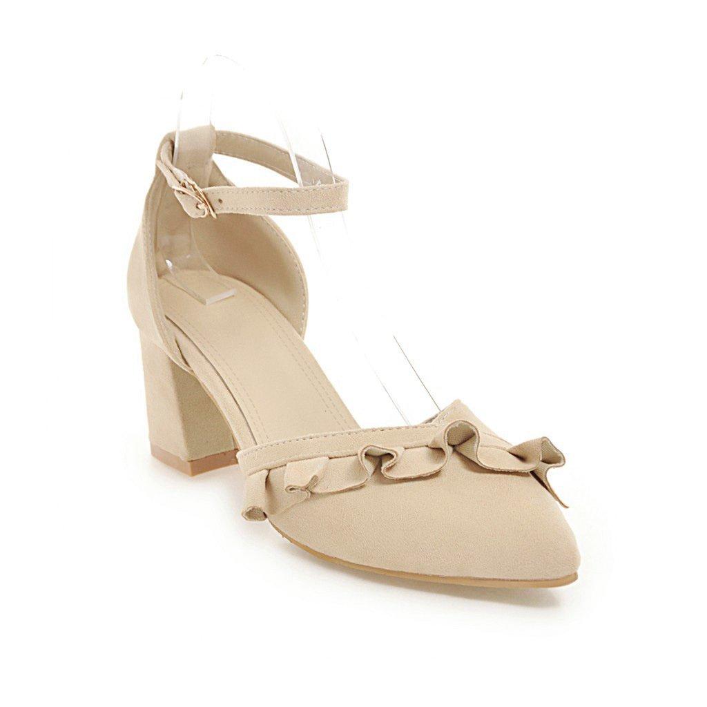 Unbekannt Frauen Sandalette High Heel Dick mit Spitzen Schnalle Flachen Mund Wort Schnalle Spitzen Hohl Beige 9e7bf1