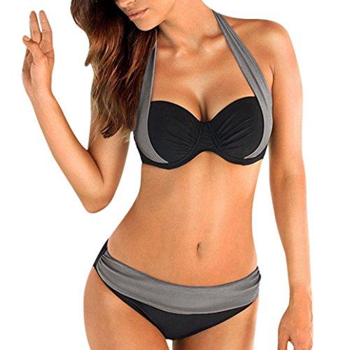 (Syban.Women Push up Padded Bra Bandeau Low Waist Bikini Swimwear Swimsuit Plus Size(Gray,Small))