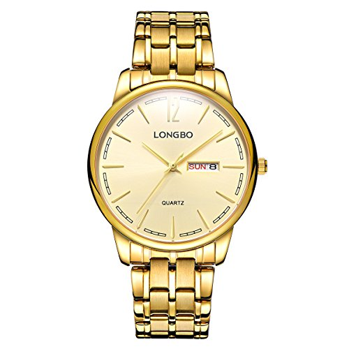 Luxury Men's Quartz Watch With Stainless Steel Band (Gold) Deluxe Watch Date Calendar Window Couple Watch