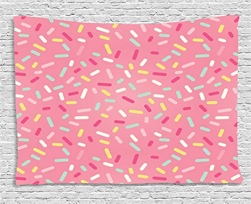 (Ambesonne Pink and White Tapestry, Abstract Pattern of Colorful Donut Sprinkles Sweet Tasty Food Bakery Theme, Wall Hanging for Bedroom Living Room Dorm, 80 W X 60 L Inches, Pink)