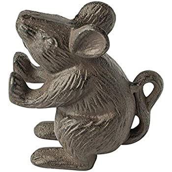 Cast Iron Mouse Door Stop - Decorative Rustic Door Stop - Stop your bedroom, bath and exeterior doors in style - Vintage Brown Color - Book Stopper - Heavy Bookend - 4.5