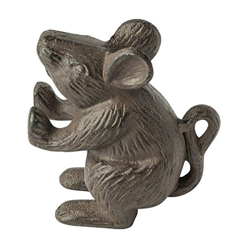 (Cast Iron Mouse Door Stop - Decorative Rustic Door Stop - Stop your bedroom, bath and exeterior doors in style - Vintage Brown Color - Book Stopper - Heavy Bookend - 4.5