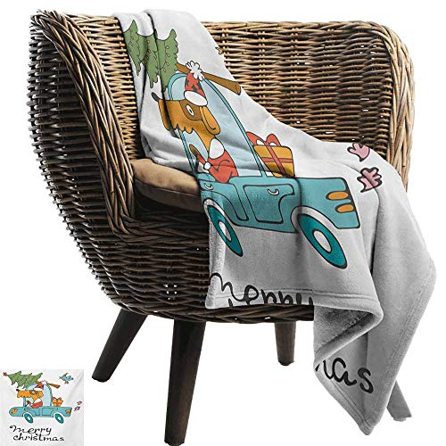 BelleAckerman Swaddle Blanket,Christmas,Blue Vintage Car Dog Driving with Santa Costume Cute Bird Tree and Gift Present,White Multi,Lightweight Extra Soft Skin Fabric,Not Allergic 35