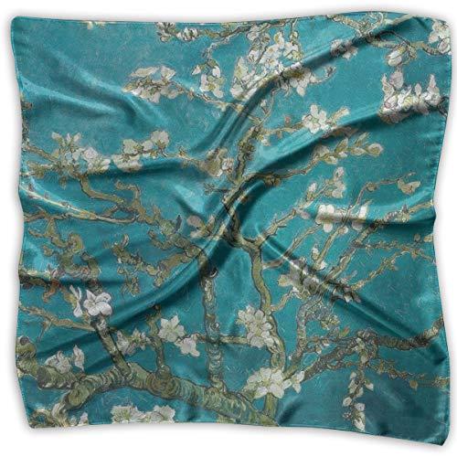 Van Gogh Almond Branches In Bloom Women Silk Scarves Square Satin Headscarf Neck Head ()