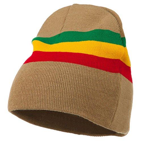 Rasta Center Striped Beanie - Khaki OSFM