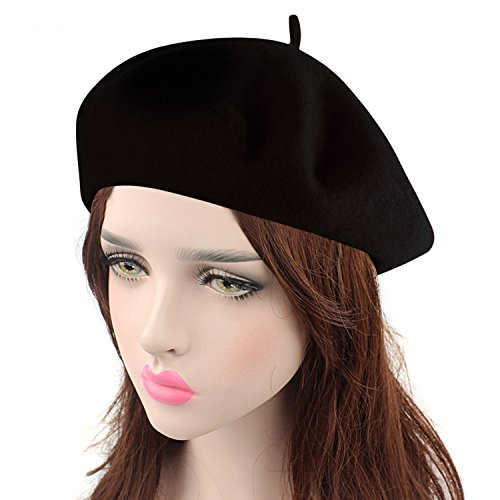 HowYouth Vintage 1940s French Style Classic Solid Color Art Wool Beret Beanie Hat Unisex Cap (Black)