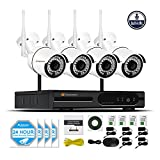 Jennov Security Camera System Wireless, 4 Channel 1080P Wireless Security Camera NVR System With Audio Home Video Surveillance IP66 Outdoor Cctv IP Network Cameras Motion Detection(No Hard Dirve)