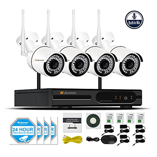 Jennov Security Camera System Wireless, 4 Channel 1080P Wireless Security Camera NVR System With Audio Home Video Surveillance IP66 Outdoor Cctv IP Network Cameras Motion Detection(No Hard Dirve) by Jennov
