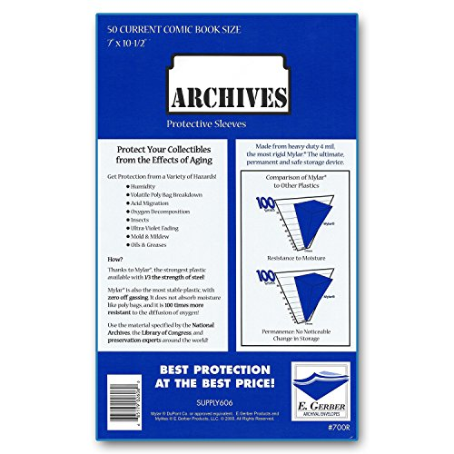 Mylar Bags Comic - Archives Current 4-Mil Comic Book Mylar Sleeves by E. Gerber (700R) - Pack of 50